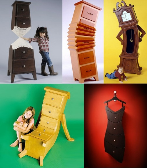 kaleidoscopekaleidoscope:  thedailywhat:  Fantastical Furniture of the Day: Whimsical wardrobes, darling dressers and other magical movables from Straight Line Designs. Check out the rest of the collection here. [dudecraft.]