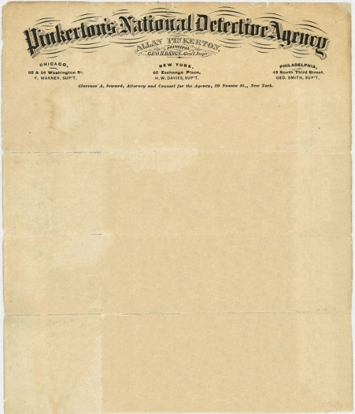 letterheady:  Pinkerton's National Detective Agency, 1871 | Source