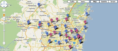 Click to enlarge and search Map Resource NSW Public Surgical Hospitals (Blue Markers) NSW Private Surgical Hospitals (Magenta Markers)