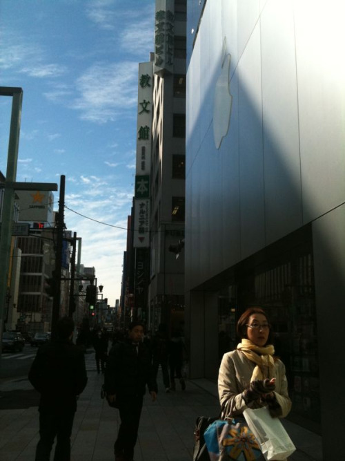 Apple Store in Ginza, Tokyo. Strangest part? The similarity to every US Apple store you've ever visited. I felt like I was visiting bizarro land.