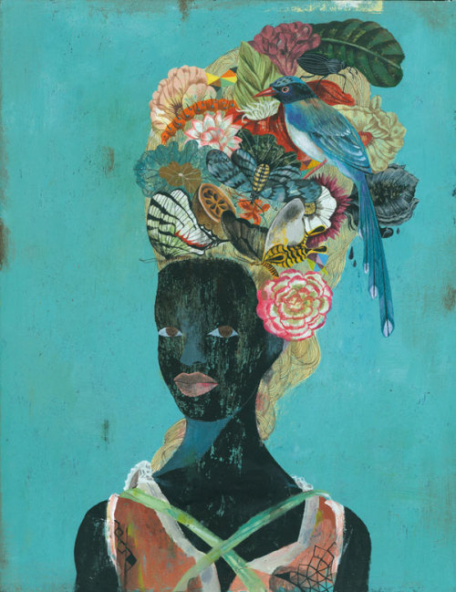 fullbloom:  Olaf Hajek: Flowerhead. - my love for you is a stampede of horses.