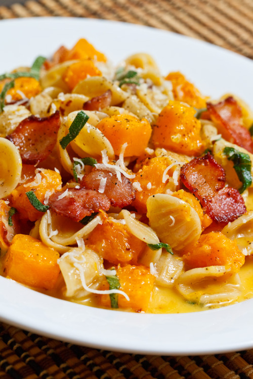Bacon Butternut Squash Carbonara photo by strawman via f-word