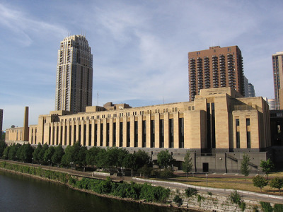 The Minneapolis Post Office is definitely one of my favorite buildings in the city. The post office features the largest bronze chandelier in the world, measuring in at 16 tons and 350 feet long. A few other amenities it included at one time or another were; a hospital unit for employees, a rifle range, and a three-room suite clad in walnut for the postmaster. Another neat bit about the building is that they originally intended for a rooftop hangar and runway for air mail. It's probably for the best that never ended up happening. Anyway, if you've never been there before, I'd recommend stopping by the next time you need to ship a package or are just in the area. There is just so much detail to check out that has been relatively untouched by time. Info via wiki & lileks Photo by Jvstin