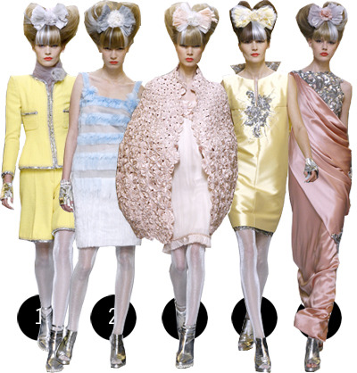 chanel haute couture s/s 2010 thoughts: got the same feeling from here that i got from dior, very ethereal. at chanel it was more forward thinking, slightly updated silhouettes while still paying homage to some hallmarks of the house. the absence of black seems to be the topic of choice, the little black dress having been a trademark of the label. there's clear similarity to the spring 2010 ready to wear show as well, which was almost universally loved. i tend to be unwavering of my support of the couture houses, and this certainly won't make me stop.aside from the looks themselves, the amount of work required to make just one of these pieces is unfathomable and sadly will soon be lost. you can't not admire them.1: whatup chanel suit/shorts2: why, that's a fine dress you have3: don't mind me, this is just my awesome cocoon4: lady gaga appropriate?5: hot damn couture!