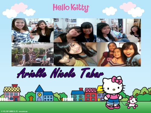 I took at Hello Kitty picture, added pics of me & my buds. Then added my name. It's my desktop wallpaper. <3  Submitted by ariellenicolee