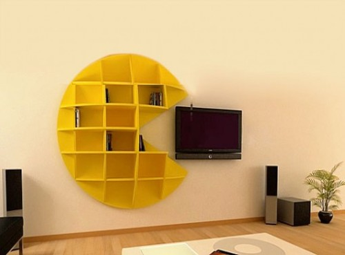 pdl2h: Nerd Approved - Gadgets and Gizmos - The Pac-Man Bookcase Gobbles Up Your Wall-Mounted HDTV