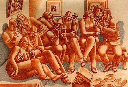 Bohemians,  1937, Red chalk, William Roberts