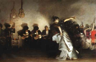 "El Jaleo, John Singer Sargent, 1880 (oil on canvas). ""Jaleo"" means roughly unrestrained enjoyment"