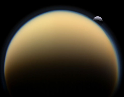 uraniaproject:   APOD: 2010 January 27 - Tethys Behind Titan
