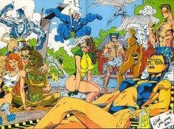 """When I was about 8 or 9 for some inexplicable reason (drugs perhaps?) my parents purchased a Marvel special edition """"Swimsuit Issue"""" that featured pages and pages of exquisitely rendered superheros frolicking in bikinis at a resort in space (muck like the X-Men centerfold pictured above).  Now, thanks to io9, I get to spend the afternoon looking for pictures from this magazine and tracing the roots of my sexual preferences.    (photo via io9)"""