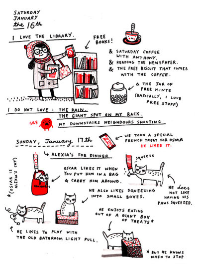 "cute ""daily diaries"" illustrations by Gemma Correll"
