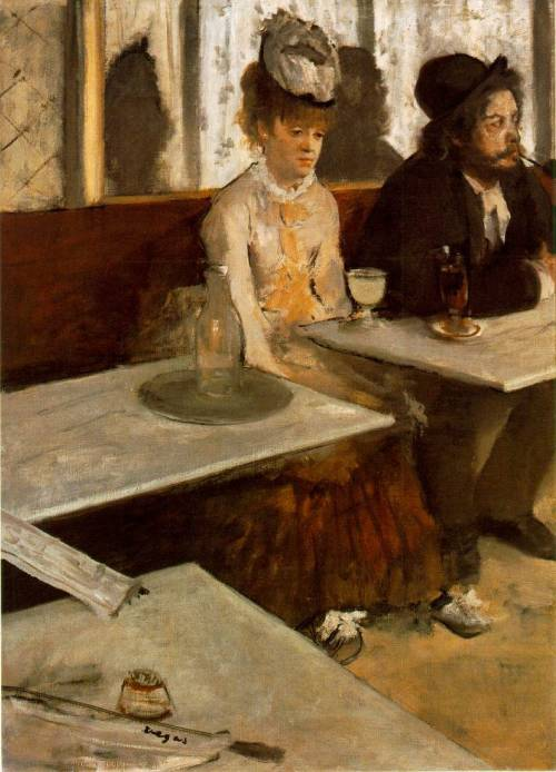 L'Absinthe, Degas. It was rejected by the Salon in 1879 as being too ordinary to be considered a fine painting. Until this time, artists costumed their characters. It was called outrageous, particularly because he depicted the private lives of celebrity figures: the woman was a well known actress; the man, a bohemian artist.