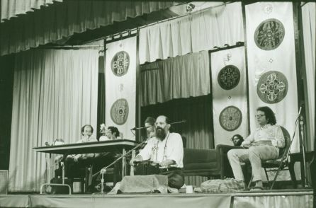 A poetry reading by Allen Ginsberg, Anne Waldman, Chogyam Trungpa Rinpoche and William S. Burroughs. 1976