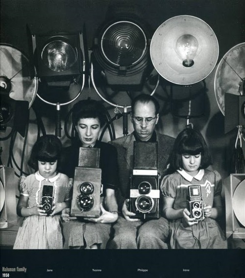 liquidnight:  Halsman family with cameras, 1950 Photographer unknown [via All Things Amazing]  Re-posted by Camila Souza