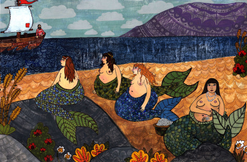 """Mermaids"" 15""x22"" Acrylic Gouache on Paper"