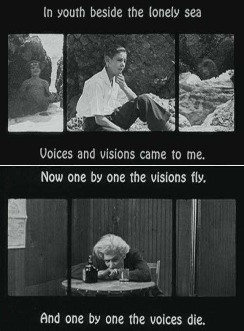 "In Youth, Beside the Lonely Sea (1925, dir. unknown). This early short film features Thomas Aldrich's poem dramatized in triptych (i.e. three films are shown on three screens simultaneously, which would have made it necessary to run three different projectors to exhibit it in a theater). In the film, we follow an imaginative boy who has mystical visions of mermaids & fairies from his youth to old age. The lonely, drunken old man he's become has lost his visions and capacity for poetry & illusion and he laments that only ""full dark"" lays ahead. (This film is available on the excellent collection Unseen Cinema)"