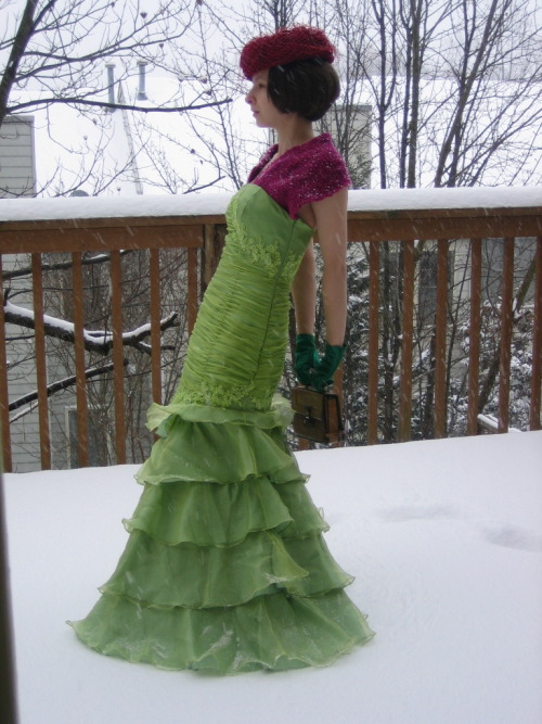 thought the snow was a lovely backdrop to my bright colorful outfit…