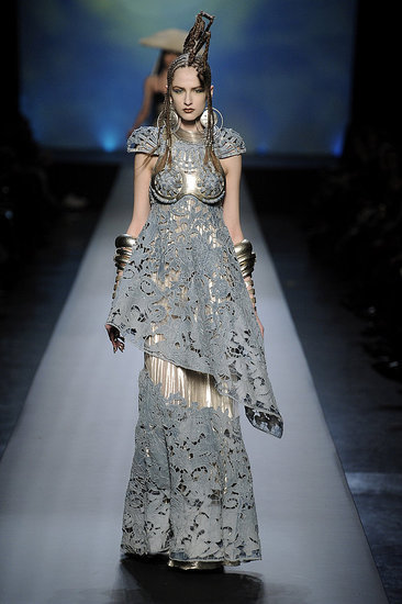 Maria Kashleva walks the runway of Jean Paul Gaultier Spring 2010 Haute Couture. This gown is my favorite because it is made of unconventional materials and still Gaultier managed to make it look stunning. The textile is denim and is made to look like lace.