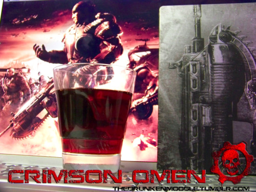 The Crimson Omen (Gears of War Cocktail) Ingredients: 1 shot Black Cherry Vodka1 shot Captain Morgan's Tattoo (Spiced Rum)1 shot GrenadineFill the rest with Cheerwine Soda Directions: Mix the first three ingredients and pour.  Fill the rest of the glass with Cheerwine and stir.  Add a few ice cubes if you wish. I love this drink.  Cheerwine is a cherry soda that is slightly uncommon, but I believe most Walmarts and Krogers carry it now.  The very sweet cherry flavor goes great with the black cherry vodka and the smooth spiced rum.  Grenadine adds to the sugary cherry flavor and makes this drink very sweet.  If you want something that tastes a bit harder, leave out the grenadine and the drink will have a bit more kick.  The color comes out as a perfect crimson.  If you're looking for a sweet, cherry drink to sip on while sawing down some Locusts, the Crimson Omen is it. Original drink created by The Drunken Moogle.