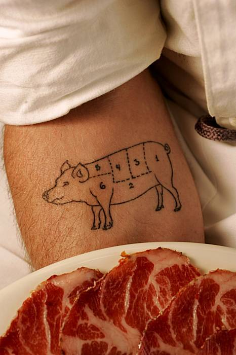 I'm pretty sure I want this tattoo. How awesome would that be? And handy, were one to ever find themselves in a situation that required the butchering of a pig.  (via this story in the SF Chron about artisan bacon, via the newspaper clipping my mom sent me)