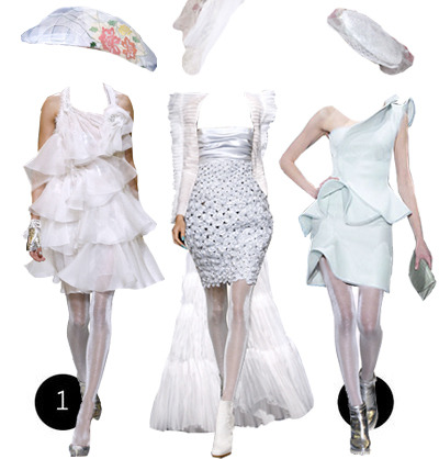 textbook:  couture is no stranger to fantasy and alice in wonderland is certainly no stranger to being an inspiration. i can't tell you how many collections were based on the whimsical tale at parsons (including one of my own, oy vey). with the marketing behind the film gearing up, a lot of people are jumping on the alice in wonderland bandwagon. and so am i, hardi harhar. so i give you the white queen, perfectly outfitted by the haute couture of spring 2010. i won't try to explain her character because it makes my head hurt but believe you me, she would wear a lot of white. for more of the whiteness check out the white witch from the lion the witch and the wardrobe.1: this volcano flew me up here: dress and tights by chanel, shoes by armani prive, hat by jean paul gaultier 2: oh it's on like donkey kong (chess): dress and tights by chanel, boots by christian dior, long crazy coat by jean paul gaultier, hat by christian dior 3: i'm going to go hide in the soup terrine: dress and clutch by armani prive, tights and shoes by chanel, hat by dior   YUMMY.