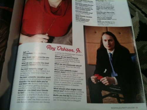 Roy Orbison, Jr. featured in this month's segment of Single & Sensational in Nashville Lifestyles magazine! Go pick up a copy today!