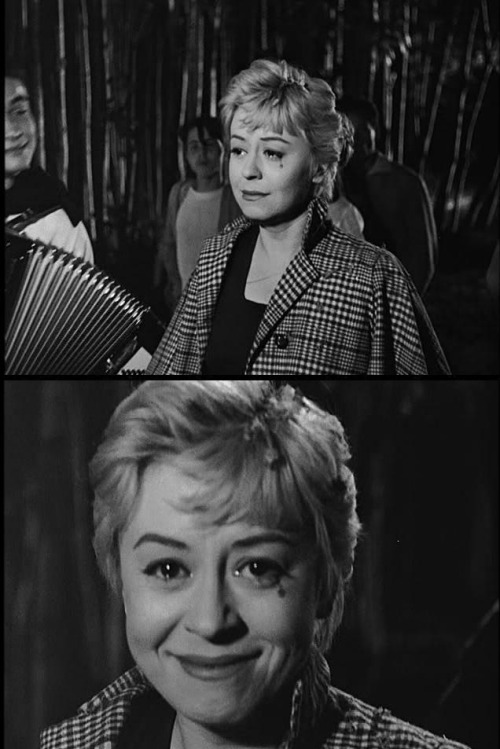 "Giulietta Masina in final shot of Nights of Cabiria (1957, dir. Federico Fellini) ""Giulietta's portrayal of Cabiria reminds me, as it has many people, of Chaplin's tramp, even more so than her [character in La Strada] Gelsomina. I leave Cabiria looking at the camera with a glimmer of new hope at the end, just as Chaplin does with his tramp in City Lights. It is possible for Cabiria to yet again have hope because she is so basically optimistic, and her expectations are so low. The French critics referred to her as the feminine Charlot, their affectionate name for Chaplin. That made her very happy when she heard it. I was happy, too. Cabiria is a victim, and any of us can be a victim at one time or another. Cabiria is, however, more of a victim personality than most. Yet even so, there is also the survivor in her. This film doesn't have a resolution in the sense that there is a final scene in which the story reaches a conclusion so definitive that you no longer have to worry about Cabiria. I myself have worried about her fate ever since."" -Federico Fellini"