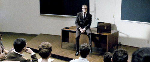 via www.aceshowbiz.com In watching Tom Ford's A Single Man last night, I had the epiphany that everything I love about modernism in interior design can be summed up in three small words: black, white, brown. Those three colors, and every variation between, precisely delineate the protagonist's classroom (above) and office but come to life in his beautiful home, a wonder of wood and glass. Taking Ford's signature sleek, masculine style and melding it with note-perfect mid-century modernism, A Single Man is a must-see for modernists everywhere.
