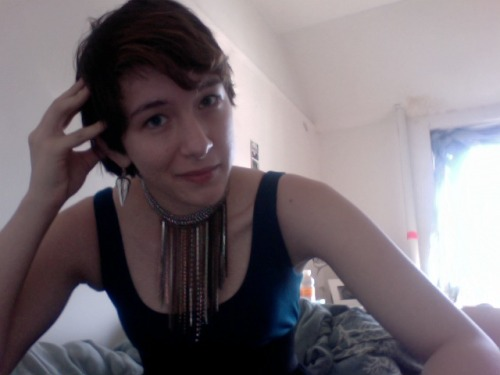 The best way to accessorize short hair in my humble opinion? Huge, outlandish accessories. Personally, my drug of choice is a pair of bold glasses and/or obnoxiously large earrings. I'm guessing this reader might have a special place in her heart for necklaces. And I wouldn't expect anything less. It's not like most girls with short hair are afraid of standing out. If we were afraid, we would look like this. And life's way too short to be that boring.