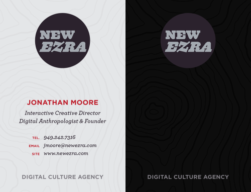 New Ezra Cards This morning I finally ordered business cards for New Ezra. For this first run I tried out Moo cards which allowed me to have 15 different variations of the back side. Does anyone have a good recommendation for a card holder?