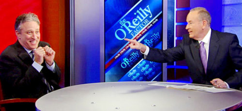 "charliefoxtrot:  2 notable quotes from Jon Stewart on O'Reilly's show… ""Here's what Fox has done, through their cyclonic perpetual emotional machine that is 24 hours a day, 7 days a week: They have taken reasonable concerns about this president and this economy and turned it into full-fledged panic attack about the next coming of Chairman Mao"" ""How is Barack Obama a socialist? As far as I can see, the majority of the billions of dollars he's given, he's given to banks. So if he's a socialist, he's dyslexic."""