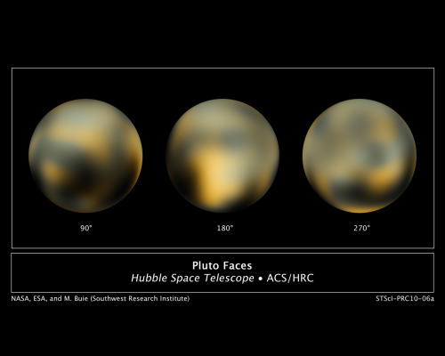 New Hubble Maps of Pluto Show Surface Changes  This is the most detailed view to date of the entire surface of the dwarf planet Pluto, as constructed from multiple NASA Hubble Space Telescope photographs taken from 2002 to 2003. The center disk (180 degrees) has a mysterious bright spot that is unusually rich in carbon monoxide frost. Pluto is so small and distant that the task of resolving the surface is as challenging as trying to see the markings on a soccer ball 40 miles away. The images, released today, taken by NASA's Hubble Space Telescope show an icy and dark molasses-colored, mottled world that is undergoing seasonal changes in its surface color and brightness. Pluto has become significantly redder, while its illuminated northern hemisphere is getting brighter. These changes are most likely consequences of surface ices sublimating on the sunlit pole and then refreezing on the other pole as the dwarf planet heads into the next phase of its 248-year-long seasonal cycle. The dramatic change in color apparently took place in a two-year period, from 2000 to 2002. Click image for high resolution. Source » via unknownskywalker: