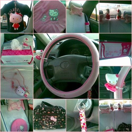 hello-kitty:  Inside my mom's car. :) Hello Kitty everywhere. :)  Submitted by kimmacasio   Waaa. I want HK too in my car! Mooore! :D