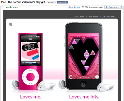 "So, the more expensive iPod Touch equates to ""loves me more""? That's pretty crass, Apple."