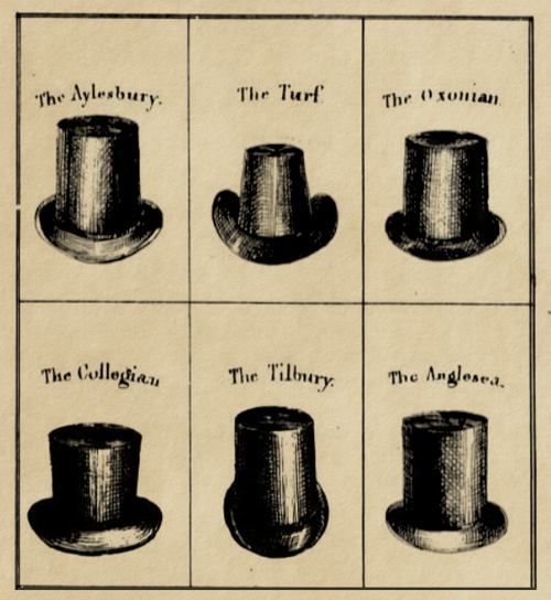 "hatsfromhistory:  vintagevision:  ragbag:  know your top hat styles* i rock a tilbury 24/7. just sayin'. __ *from: the whole art of dress! by ""a cavalry officer"" (1830)."