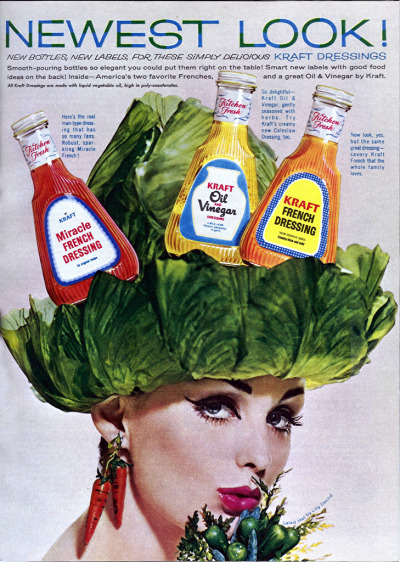 1962 - Salad hats and elegant bottles. (via)