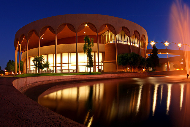 designsbyfranklloydwright:  Frank Lloyd Wright's Grady Gammage Memorial Auditorium (1964), Arizona State University campus, Tempe, Arizona   (via thesecondgleam)