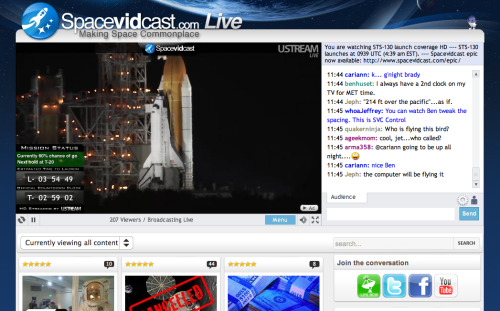 Watch the Space Shuttle launch online at Spacevidcast and chat live with hosts Ben and Cariann Higginbotham.