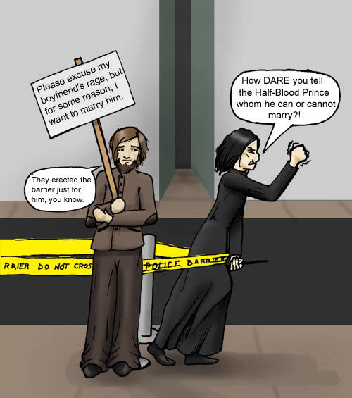 (Slashy) Severus Snape for gay rights!  I wish I had a credit link for this, but alas; I found it on PB. If anyone knows, send me the link via the ask feature (from the LGBT Laughs homepage).