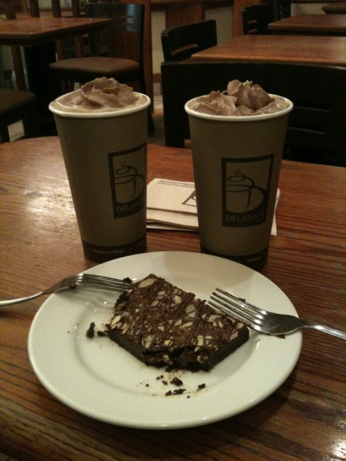 2 large soy mochas w/ belgian chocolate brownie - $7.98 w/ entertainment coupon. Hard to beat the value as an after dinner snack at Delany's Coffee House on Denman St. Don't forget to ask the barista to warm it up in the microwave…it's extra yummy that way.
