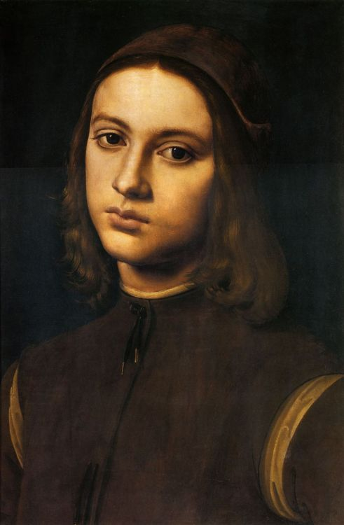 Pietro Perugino - Portrait of a Young Man (detail) 1495