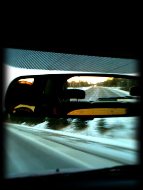 Rearview mirror.