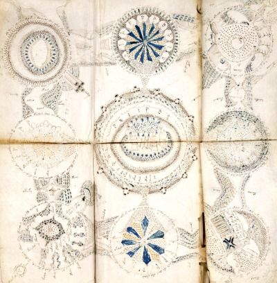 The Voynich Manuscript cosmological example, undeciphered illustrated book thought to have been written in the 15th or 16th century. Described as a magical or scientific text, nearly every page contains botanical, figurative, and scientific drawings of a provincial but lively character. The author, script, and language of the manuscript remain unknown. The mysterious book was once bought by an emperor, forgotten on a library shelf, sold for thousands of dollars, and later donated to Yale. Possibly written in the 15th century, the over 200-page volume and it is named after its discoverer, the American antique book dealer and collector, Wilfrid M. Voynich, who discovered it in 1912. More informations here.