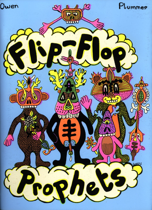 The front cover of Flip-Flop Prophets, a 2008 silk-screened artist book by Owen Plummer, published by French crazoids Le Dernier Cri.
