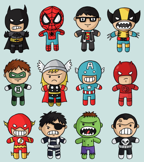 I bet each of these pint sized Marvel & DC Superheroes by Jess Bradley (@VenkmanProject) pack a mean punch! Do not let their cute looks fool you folks. They are all equally bad ass looking. I cannot pick a favorite. :) Superhero Medley by Jess Bradley (deviantART) (Twitter)