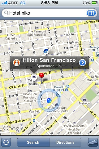 Ads in iPhone maps? New to me. Seen this before?   Wonder who's doing this is. They're Google's maps, but Apple wrote app.