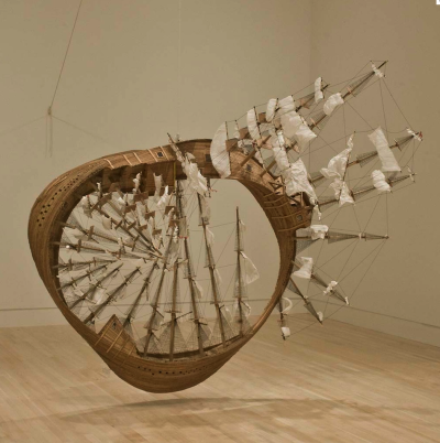 un:  iheartmyart:  Tim Hawkinson, Mobius Ship, 2006, wood, plastic, Plexiglas, rope, staples, string, twist ties, glue California-based artist Tim Hawkinson is known for taking everyday materials and altering them in imaginative ways, creating works that address broad issues about the intersection of human consciousness, nature and technology. Here, he employed a mix of found objects and common household materials—including twist ties, craft wood, staples, and packing material—which he transformed almost alchemically into a complex and awe-inspiring sculpture. Echoing the working methods of ship-in-a-bottle hobbyists, Hawkinson created a painstakingly detailed model ship that twists in upon itself, presenting the viewer with a thought-provoking visual conundrum. The title is a witty play on Herman Melville's novel Moby Dick, which famously relates the tale of a ship captain's all-consuming obsession with an elusive white whale. The ambitious and imaginative structure of Hawkinson's sculpture offers an uncanny visual metaphor for Melville's epic tale, which is often considered the ultimate American novel. Möbius Ship also humorously refers to the mathematical concept of the Möbius Strip. Named after a nineteenth-century astronomer and mathematician, the Möbius Strip is a surface that has only one side, and exists as a continuous curve. Its simple yet complex spatial configuration presents a visual puzzle that parallels Hawkinson's transformation of the mundane materials into something unexpected. via IMA