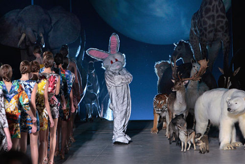 Alexander McQueen in a bunny suit during a fashion show back in fall, 2008. From NYM's The Cut.