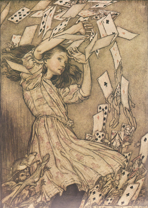 giddy-stratospheres:  fuckyeahwonderland:  Arthur Rackham Illustration | submitted by breadcheesepotato  i have this copy of Alice In Wonderland, it's gorgeous