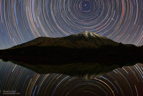 Teide Sky Trails Credit & Copyright: Daniel López The snow capped Teide volcano is reflected in a pool of water in this nearly symmetric night sky view from the Canary Island Tenerife. (via APOD)